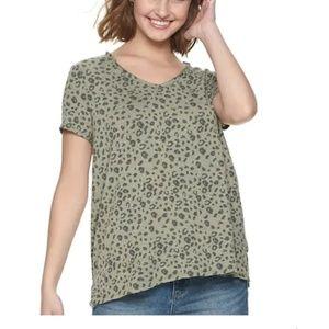 Mudd Short Sleeve Leopard Print T-shirt XL NEW